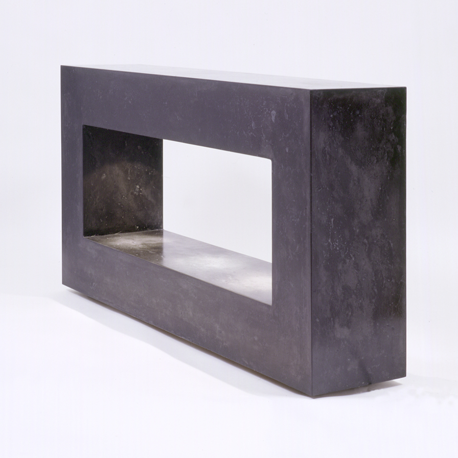 Rectangular console table cast in scagliola, with concealed LED lights onto shining onto lower shelf. On adjustable feet