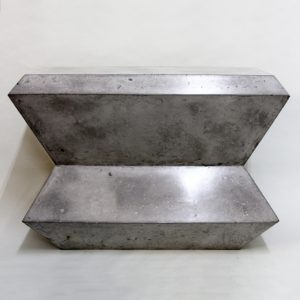Faceted Geo console table cast in cement coloured Scagliola