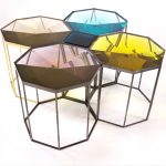 Faceted Tallis table cast in clear resin. Octagon and square combination showing Aquamarine, Citrus, Gold Quartz, Rose Quartz and Midnight Blue square