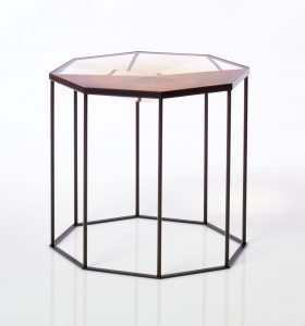 Faceted Tallis table cast in Gold Quartz resin on black powder coated cage-like base/frame.