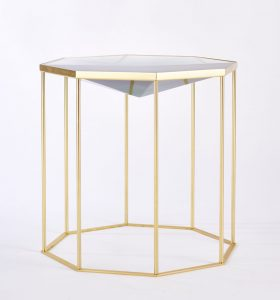 Faceted Tallis table cast in Siberian Green resin on brass cage-like base/frame.