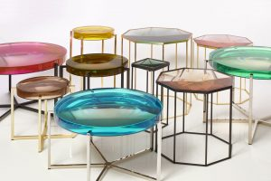 Coffee table in various heights and designs showing Tallis table square and octagon in green, gold quartz, siberian green and Lens table in emerald, turquoise, citrine, rose, bottle, acid lemon