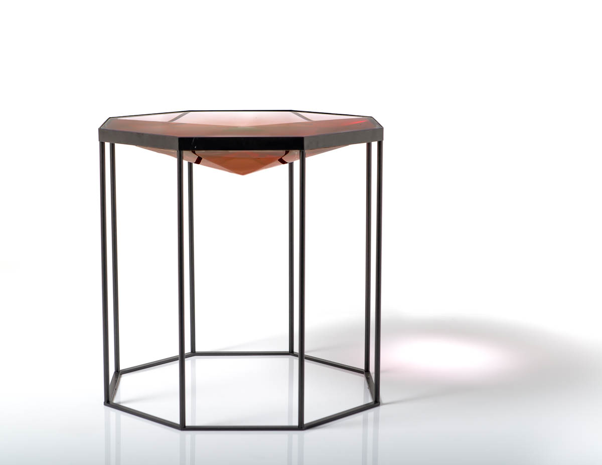 Highly polished resin octagonal table